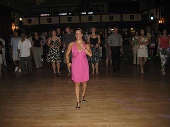 Samia leading salsa class